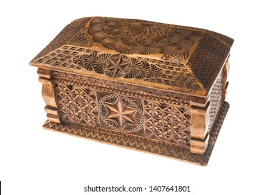 carved wooden box isolated on white background