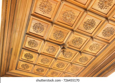 Carved wooden ceiling