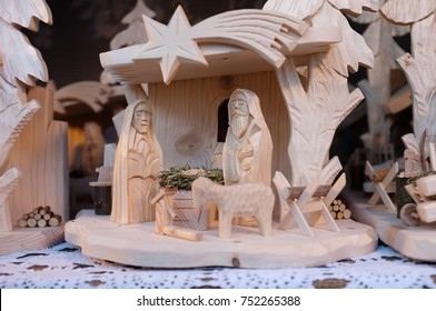 Carved wooden Christmas Nativity scene