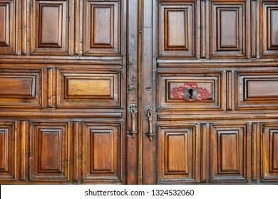 Carved wooden door. Church of San Juan Bautista of Turienzo de los Caballeros, Leon, Spain.