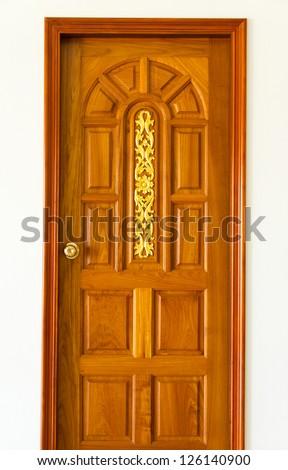 Carved Wooden Door Golden Thai Design Stock Photo Edit Now
