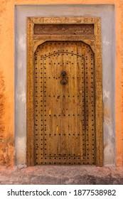 Carved wooden door in medina of Marrakesh, Morocco