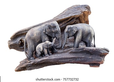 Carved wooden elephant isolated white background ,with clipping path