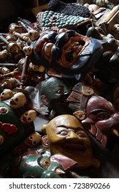 Carved wooden mask of Tibetan deity,Leh, Ladakh, India