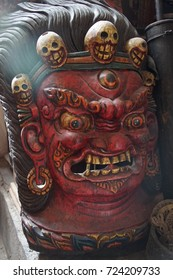Carved wooden mask of Tibetan deity,Leh, Ladakh, India