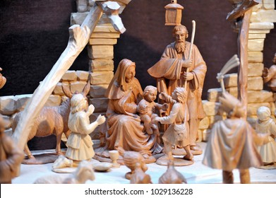 Carved wooden Nativity scene with Jesus