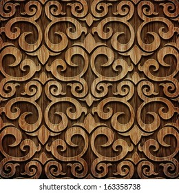 Carved wooden pattern