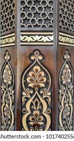 carved wooden pillar, traditional uzbek pattern