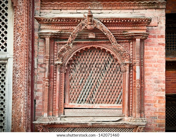 Carved Wooden Window On Hanuman Dhoka Stock Photo (Edit Now