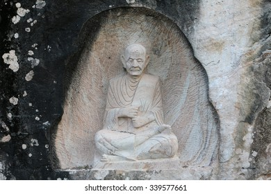 Carving in buddhist temple cave phadan, sakonnakhon,Thailand