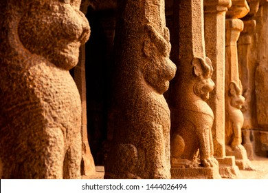 Carving detail of lion and tiger in mahabalipuram, Tamil Nadu, India