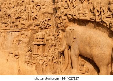 Carving detail in mahabalipuram, Tamil Nadu, India