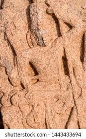 Carving detail in temple, South India. Mahabalipuram.