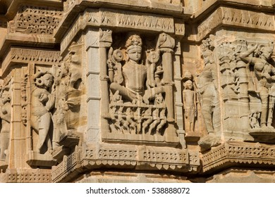 Carving on Jain Temple near to Tower of Fame in Chittorgarh Fort, Rajashan. It depicts Surya which is solar deity in Hinduism. This Hindu sun god rides in chariot drawn by seven horses. India