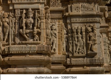 Carving on the Jain Temple near to Tower of Fame in the Chittorgarh Fort, Rajashan. Chittorgarh is the largest fort in India & Asia. It's in UNESCO World Heritage Site List as Hill Forts of Rajasthan.