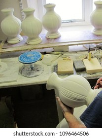 Carving Porcelain Vases Irish Porcelain in the Making Handcrafted Irish Porcelain