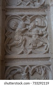 Carving of religious scene in stone of a church