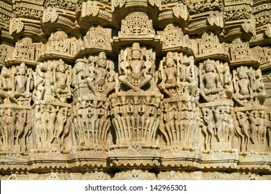 Carvings in Chaumukha temple in Ranakpur, Rajasthan, India