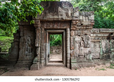 Carvings on the wall in the ancient Angkor Thom Baphuon Temple in the Angkor Area, near Siem Reap, Cambodia, Asia. Buddhist monastery from the 12th century. Asian architectural background.