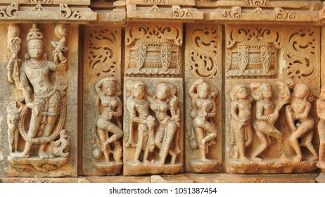 Carvings on wall outside Sahastra Bahu Temple 2 at Nagda, Udaipur, Rajasthan, India. Sahastra Bahu Temple was built in early 10th century AD, dedicated to Lord Vishnu.