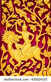 carvings in Thai temple