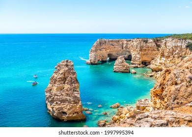 Carvoeiro - Praia da Marinha. Beautiful beach Marinha, Algarve, Portugal