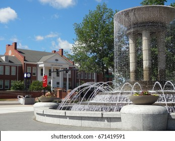 CARY, NC - MAY 2017: Park in Downtown Cary with Cary Arts Center in the Background