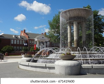 CARY, NC - MAY 2017: Park in Downtown Cary with Cary Art Center in the Background
