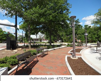 CARY, NC - MAY 2017: Park in Downtown Cary