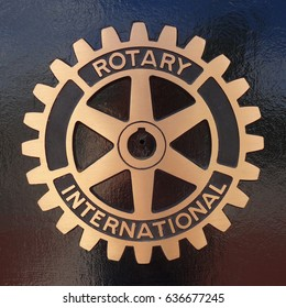 CARY, NC - May 2017: The Rotary Club has been serving the town since 1964. Its plaque can be found in the downtown Cary,