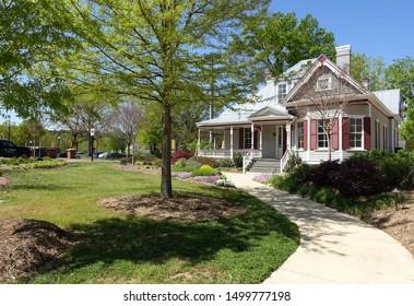 CARY, NC / USA - APRIL 2018: Neighborhood in downtown Cary, North Carolina