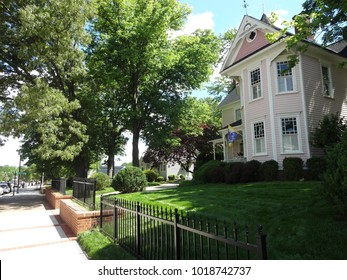 CARY, NC / USA - May 2017: A Pink House in a Downtown Neighborhood in Cary, North Carolina