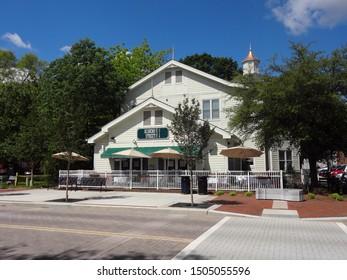 CARY, NC / USA - May 2017: Ashworth Village in Downtown Cary, North Carolina