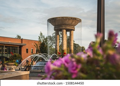 Cary/ NC/ USA - September 14, 2019: water fountain at Downtown Park in the city. Famous landmark.