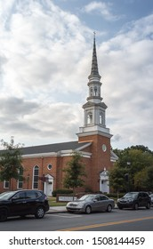 Cary/ NC/ USA - September 14, 2019: facade of the Baptist Church at downtown Cary's mains street