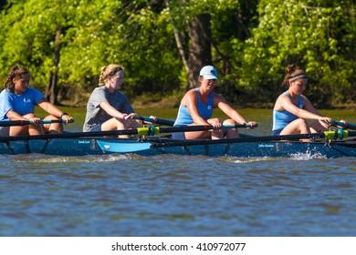 CARY, NORTH CAROLINA - APR 23: UNC woman get rowing workout on Jordan Lake on 23 Apr 2015 at Lake Jordan
