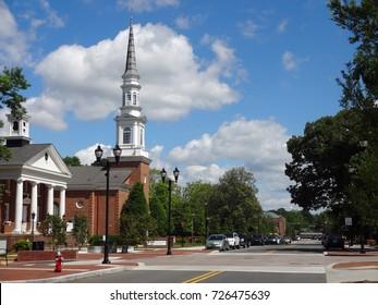 CARY, NORTH CAROLINA - MAY 2017: The First Baptist Church in Downtown Cary, North Carolina