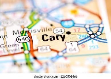Cary. North Carolina. USA on a geography map