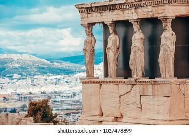 The Caryatid Porch of the Erechtheion, Athens,  Greece