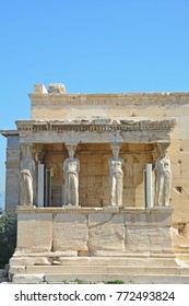 The caryatid porch in the Erechtheion on the Athens Acropolis, Greece