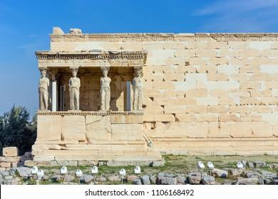 The Caryatid Porch of the Erechtheum, Acropolis, Athens, Greece.