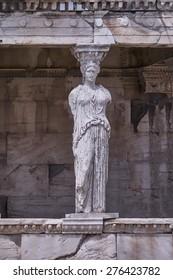 Caryatid statue, erehtheion ancient greek temple, Athens