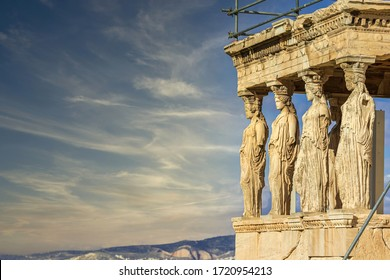 The Caryatids of the Erechteion temple of the Acropolis in Athens, Greece