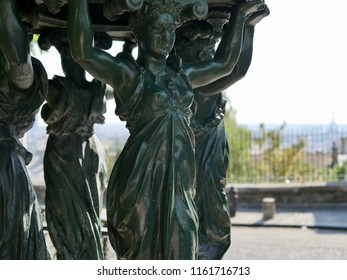 "Caryatids women of a fountain ""Wallace"" in the sun"