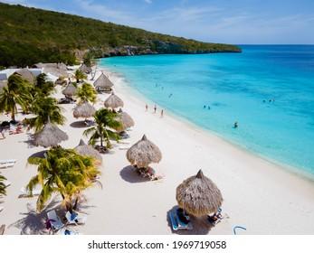 Cas Abou Beach on the caribbean island of Curacao, Playa Cas Abou in Curacao Caribbean tropical white beach with blue ocean