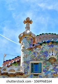 Casa Batllo Facade. The famous building designed by Antoni Gaudi is one of the major touristic attractions in Barcelona, Spain