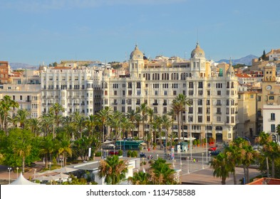Casa Carbonell, a block of luxury apartment buildings on the esplanade in Alicante waterfront. Spain, Europe. July 2018