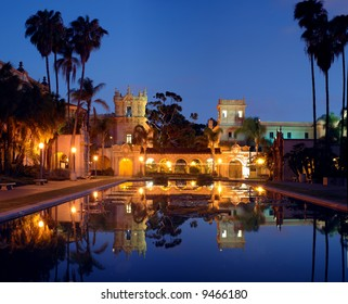 Casa De Balboa at night, Balboa Park, San Diego