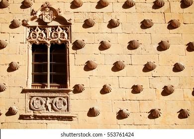 Casa de las Conchas with La Clerecia Church in Salamanca, Castilla y Leon, Spain