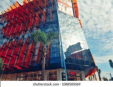 Casablanca Morocco, 11 May 2018, low angle view of a modern business building  in Maarif, Casablanca